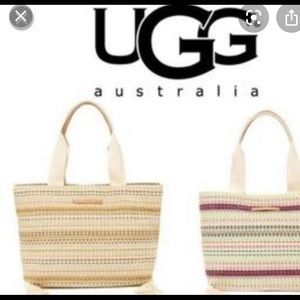 UGG Julia tote leather handles an beige striped